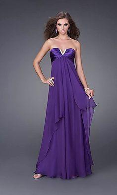 A-Line Strapless Floor Chiffon Prom Dress