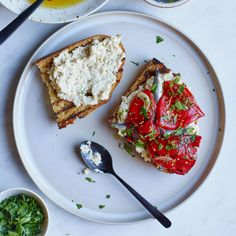 Marinated Piquillo Pepper and Whipped Eggplant Toasts | Food & Wine