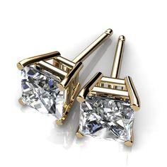 Diamond studs princess cut 4 prong basket setting