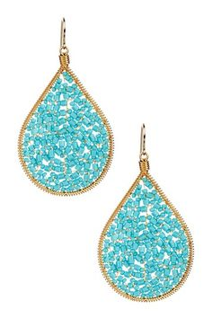 Handmade Turquoise Beaded Teardrop Earrings