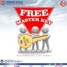 """""""MASTER KEY"""" Dimana Satu Anak Kunci Master Dapat Membuka Banyak Pintu. Gratis Pembuatan Master Key Untuk Pembelian Minimal 3 Set Handle Segera Dapatkan Hanya di Kenari Djaja  Informasi Hub. : Ibu Tika 0812 8567 7070 ( WA / Telpon / SMS ) 0819 0506 7171 ( Telpon / SMS )  Email : digitalmarketing@kenaridjaja.co.id  [ K E N A R I D J A J A ] PELOPOR PERLENGKAPAN PINTU DAN JENDELA SEJAK TAHUN 1965  SHOWROOM :  JAKARTA & TANGERANG 1 Graha Mas Kebun Jeruk Blok C5-6 Telp : (021) 536 3506"""