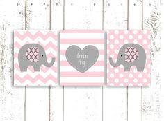 Elephant Art Print, Nursery Printable, Pink and Grey Elephants with Quote, Dream Big, Chevron, Stripes and Polka Dots