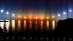 Imagen en el  Polo Norte del «sol de media noche» el sol no llega a ocultarse de noche por la latitud del polo a pesar de la rotación de la tierra.