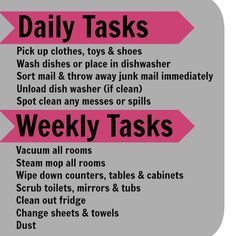 DAily and weekly house cleaning schedule lists. 7 weekly tasks = 1 each day. That's not so bad! #cleaning #organization