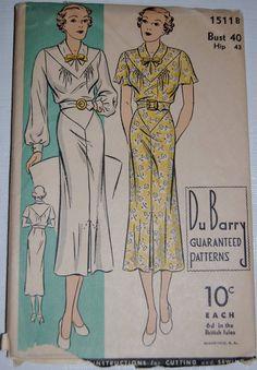 Vintage 1930s Dubarry Dress Pattern Women's by NostalgiaVintage2