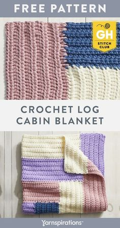 The Stitch Club Crochet Log Cabin Blanket makes a great beginner friendly blanket. Join the Good Housekeeping Stitch Club by shopping this kit — you'll get all the materials you need, plus tailored step-by-step instructions and videos for this project delivered straight to your inbox! #Yarnspirations #GoodHouseKeeping #GoodHousekeepingStitchClub #YarnKit #EasyCrochet #LearnToCrochet #CrochetBlanket #CrochetAfghan #CrochetThrow #BernatYarn #BernatSofteeChunky Afghan Patterns, Crochet Blanket Patterns, Baby Blanket Crochet, Crochet Baby, Knit Or Crochet, Learn To Crochet, Easy Crochet, Free Crochet, Bernat Softee Chunky Yarn