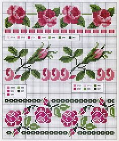 Scheme for embroidery or weaving Cross Stitch Boarders, Cute Cross Stitch, Cross Stitch Rose, Cross Stitch Alphabet, Cross Stitch Flowers, Cross Stitch Charts, Cross Stitching, Cross Stitch Embroidery, Cross Stitch Patterns