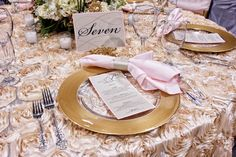 Elegant table setting with Rose Table Linen, Gold Rimmed Chargers and Pale Pink Napkins.  Love. Love. Love.    #wedding