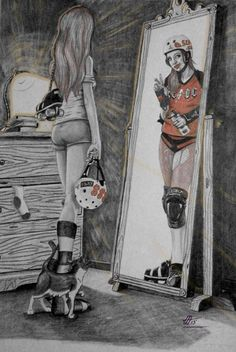 Roller derby by phanta-c-artist - love this drawing, the girl even has the same number as me Roller Quad, Roller Derby Girls, Roller Derby Clothes, Reflection Pictures, Derby Time, Derby Skates, Skate Girl, Inline Skating, Skateboard Girl