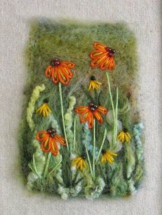 Shropshire-based textile artist and tutor Maxine Smith Art Fibres Textiles, Textile Fiber Art, Textile Artists, Wet Felting Projects, Needle Felting Tutorials, Felted Wool Crafts, Felt Crafts, Art Carte, Felt Pictures