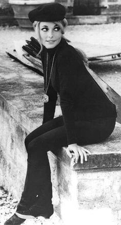 Sharon Tate in a beatnik outfit. Murdered by Charlie Manson & family.