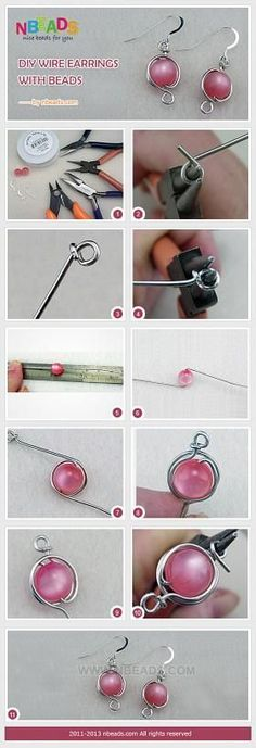 DIY Wire Earrings with Beads
