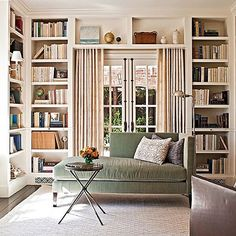 This light-filled library originally functioned as a dining room. Take a full tour of actor and producer @theseanhayes redesigned Hollywood home (link in bio). #THBeforeAfter #THGetOrganized Design by @chrisbarrettdesign; photography by Michael Garland