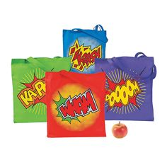 These would be so cute for take home!  Large Superhero Tote Bags - OrientalTrading.com