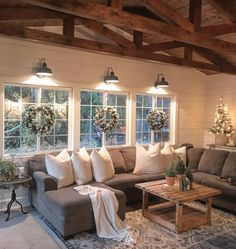 75 Majestic Rustic Farmhouse Living Room Decor Ideas – Best Home Decorating Ideas Home Living Room, Living Room Designs, Living Room Windows, Living Room Styles, Lamps For Living Room, Living Room Vaulted Ceiling, Cool Living Room Ideas, Christmas Living Room Decor, Living Room Decorations