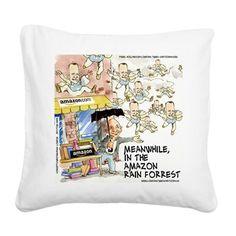 #Humor #Canvas #Throwpillow by @LTCartoons #cafepress #pinterest #amazon #rainforest #forrestgump #jeffbezos #parody #sale #gift #homedecor #humor #funny #pillows