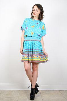 Vintage Teal Blue Dress Aqua Blue by ShopTwitchVintage on Etsy