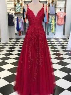 Red Appliques Lace Long A-line Tulle Prom Dresses, PD0791 Red Appliques Lace Long A-line Tulle Prom Dresses, PD0791 - #ALine #Appliques #Dresses #Lace #Long #PD0791 #Prom #Red #tulle