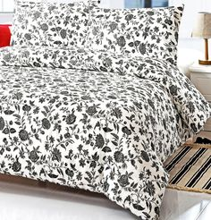 Black and White Floral Full Queen Size Duvet Cover Set