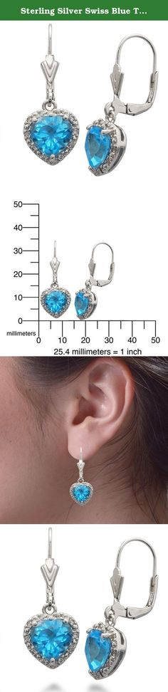 Sterling Silver Swiss Blue Topaz Earrings (2.75 CT). Sterling Silver Swiss Blue Topaz Heart Earrings (2.75 CT). The Blue Topaz stones are Heat Treated. The main gemstone is surrounded by White Cubic Zirconia stones. This product comes with a 90 day seller warranty.