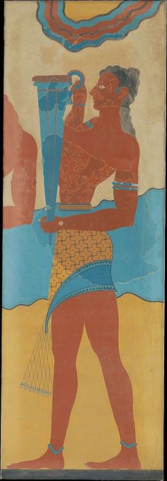 The Stream of Time: The Minoans: Fashion Servant with a blue vessel fresco at Knossos