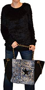Star Borsa E Donna Da Millennium Denim Pelle In Diamond Black bf6vyY7g