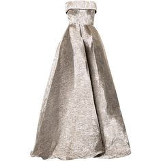 Alex Perry Haydn strapless flared gown (8.305 BRL) ❤ liked on Polyvore featuring dresses, gowns, grey, grey evening dress, strapless gown, grey dresses, gray evening dress and grey ball gown
