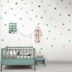 Mint and blue wall sticker stars