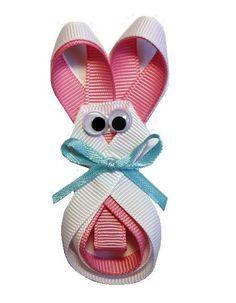 Bunny ribbon sculpture hair bow