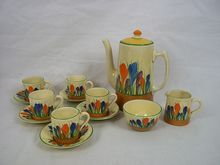 Clarice Cliff Bizarre Newport Pottery Crocus Pattern 13 Piece Coffer Set, c1930 from The Antiques Storehouse on Ruby Lane