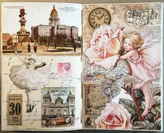 constance rose : art and life: 2017 Collage Book, Collage Art Mixed Media, Painting Collage, Folded Book Art, Book Folding, Art Journal Pages, Junk Journal, Altered Book Art, Glue Book