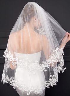 Two-tier Lace Applique Edge Elbow Bridal Veils With Lace (006150925) -  JJsHouse 82c5a423de8f