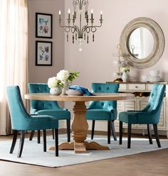 Get inspired by Glam Dining Room Design photo by Wayfair Catalog. Wayfair lets you find the designer products in the photo and get ideas from thousands of other Glam Dining Room Design photos. Table Design, Dining Room Design, Table Turquoise, Luxury Dining Room, Solid Wood Dining Table, Small Dining, Retro Home Decor, Home Living, Living Room