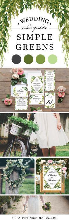 2017 Wedding Trends - Greenery! 2017 Wedding Color Palette. Popular Wedding Theme.