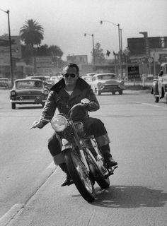 Vaughn Monroe on his Indian Motorcycle, 1955.