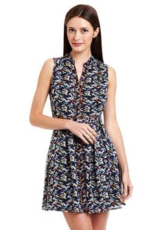 PINK MARTINI Navy Sleeveless Printed Tie Waist Marquis Dress