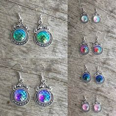 Earrings - Mermaid - Dragon - Scale - Vintage- Victorian - Resin - Cabochon - New Age - Boho - Hippie - Folk - Wicca - Pagan by Nattspinnas on Etsy