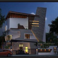 Bungalow House Design, House Front Design, Modern House Design, Modern Exterior, Interior Exterior, Exterior Design, House Architecture Styles, Architecture Design, 3d Home