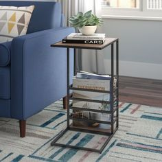 Wrought Studio Raze Wood And End Table Diy End Tables, Modern End Tables, Sofa End Tables, End Table Sets, End Tables With Storage, Coffee Tables, Tv Tray Table, C Table, Grey Armchair