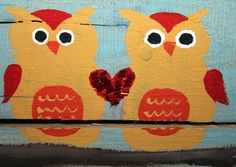 Owls in Love Picture I Love You Wooden by CricketStudioArtwork