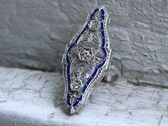 Halo Diamond Engagement Ring, Vintage Engagement Rings, Filigree, Class Ring, Diamond Cuts, Fine Jewelry, Diamonds, Enamel, White Gold