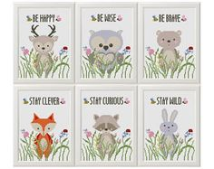 6 dieren Kruissteek   Printbaar PDF   Patroon,   Baby   Douche Gift, Kwekerij   decor