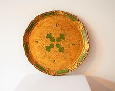 Vintage Green Gold Florentine Wood Carved Tray / Gold Green Round Wood Florentine Tray / Emerald Gold Round Wooden Tray / Italian Wood Tray by ZenVintageCollection on Etsy