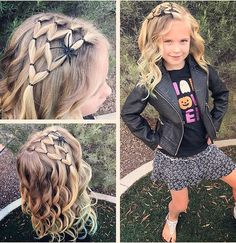 Super quick and easy spider web! With some curls Halloween style! Super quick and easy spider web! With some curls! Super quick and easy spider web! With some curls! Baby Girl Hairstyles, Winter Hairstyles, Braided Hairstyles, Halloween Hairstyles, School Hairstyles, Hair Styles For Halloween, Hairdos, Easy And Cute Hairstyles, Toddler Hairstyles