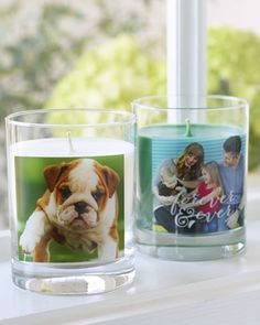 Warm up the home this winter with personalized scented-candles. || Shutterfly