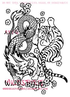 rlly like the idea of a tiger and dragon tattoo but hard to find any designs i like this is close but still not elegant enough