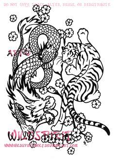 Tiger And Dragon Asian Yinyang by WildSpiritWolf.deviantart.com on @deviantART