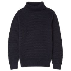 Osso London - Finn Merino Wool Moss Stitch Roll Neck Jumper ($190) ❤ liked on Polyvore featuring men's fashion, men's clothing, men's sweaters, mens merino wool sweater, mens merino sweater, mens chunky knit sweater and mens roll neck sweater