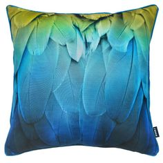 This Feathers Scatter Cushion is a bright, digitally printed cushion with a feather pattern and piping.