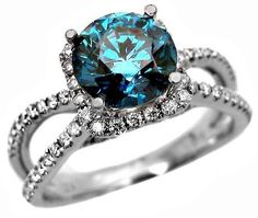 2.40ct Round Blue Diamond Engagement Ring in 18k White Gold 2